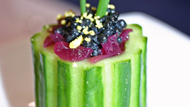 Thumbnail image for Cucumber Cups with Caviar & Champagne Onions