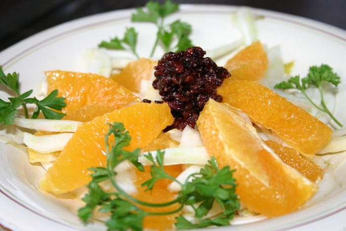 Fennel, Orange & Zereshk Salad with Fig Vincotto