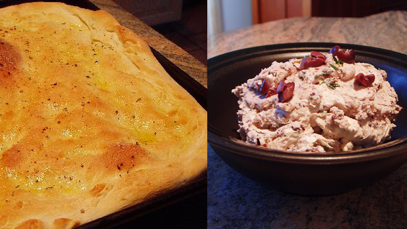 Post image for Thyme Focaccia with Kalamata Mascarpone Spread