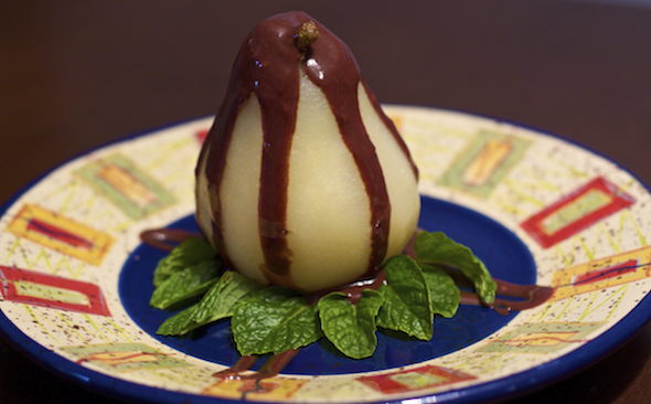 Post image for Poached Pears with Chocolate Raspberry Sauce