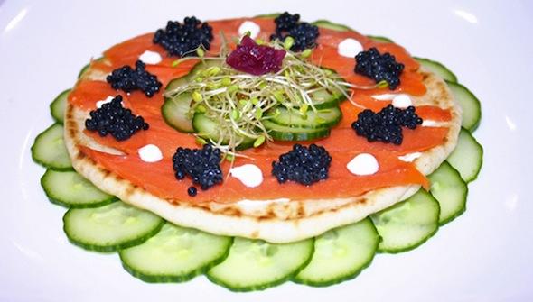 "Post image for Smoked Salmon and Caviar ""Pizza"""